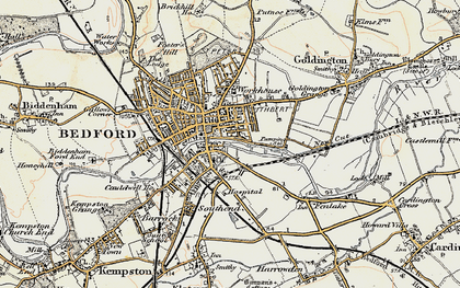 Old map of Bedford in 1898-1901