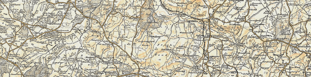 Old map of Bedgebury in 1898