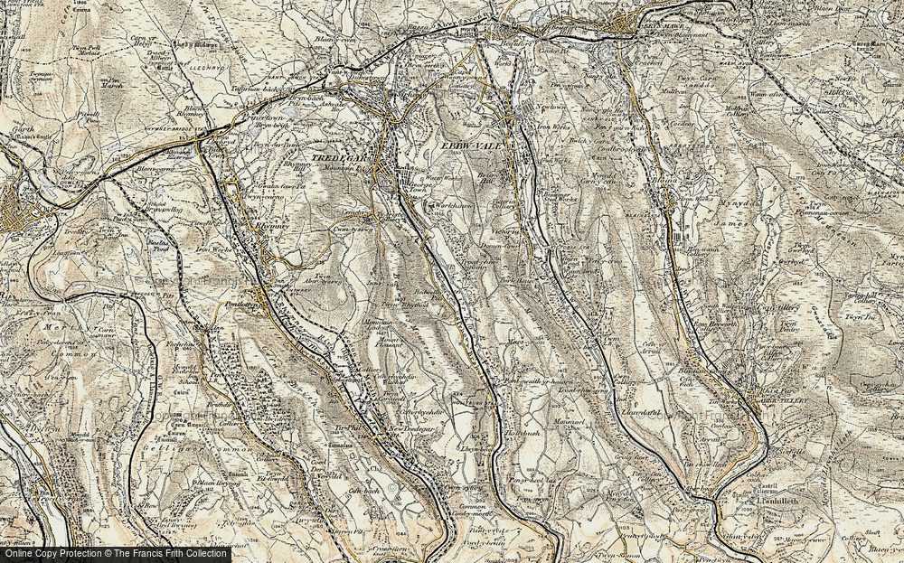 Old Map of Bedwellty Pits, 1899-1900 in 1899-1900
