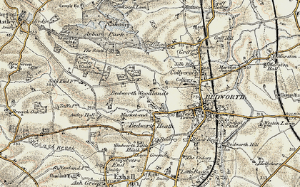 Old map of Bedworth Woodlands in 1901-1902