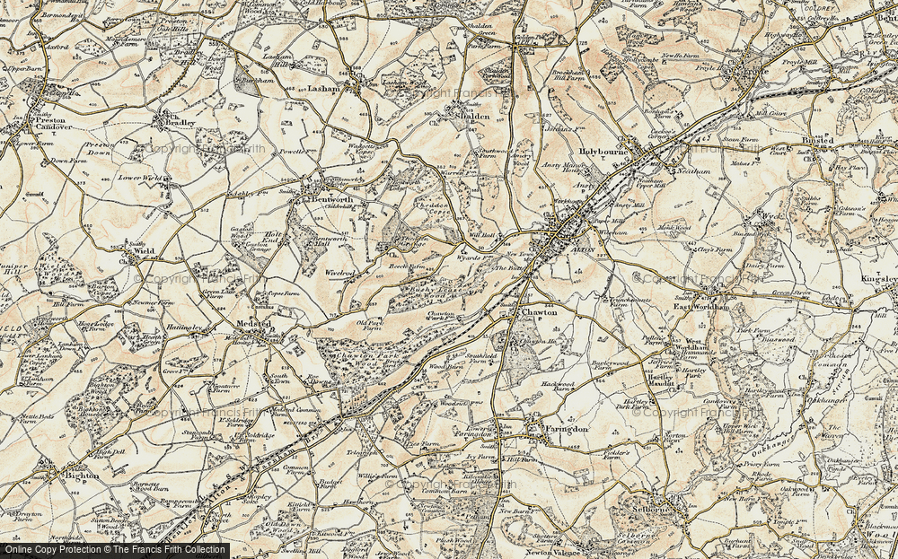 Old Map of Historic Map covering Ackender Wood in 1897-1900