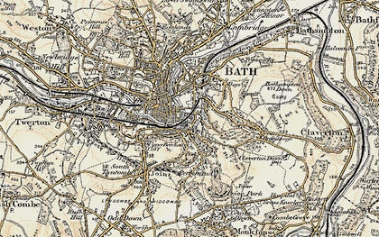 Old map of Beechen Cliff in 1898-1899
