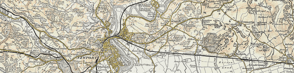 Old map of Beechwood in 1899-1900
