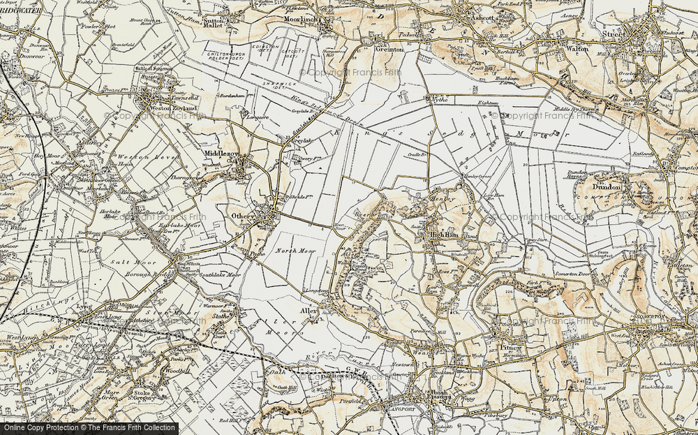 Old Map of Historic Map covering Langacre Rhyne in 1898-1900