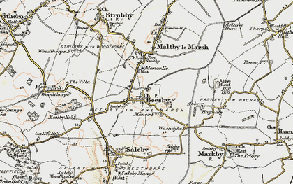 Old map of Beesby in 1902-1903