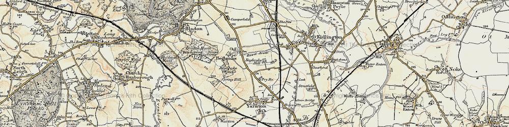 Old map of Begbroke in 1898-1899