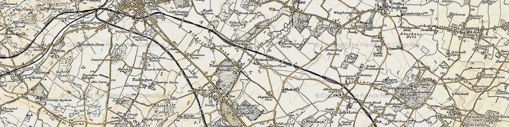 Old map of Bekesbourne in 1898-1899