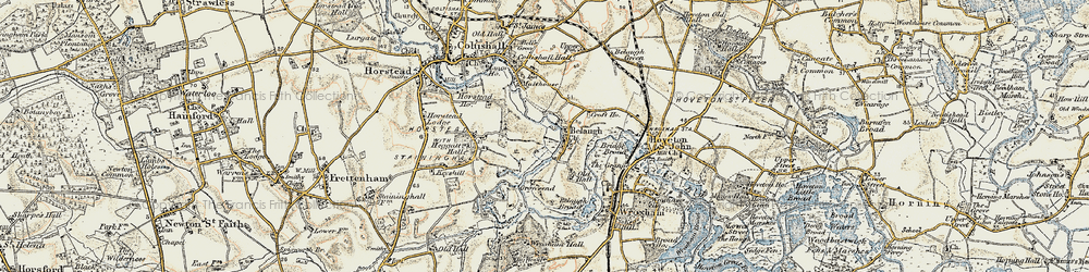 Old map of Belaugh in 1901-1902