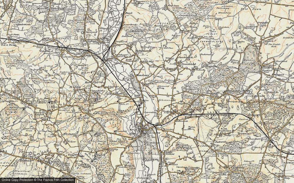 Old Map of Historic Map covering Abbotswood in 1897-1909