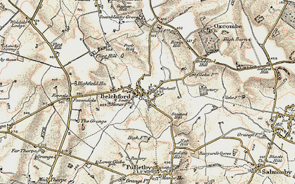 Old map of Belchford in 1902-1903