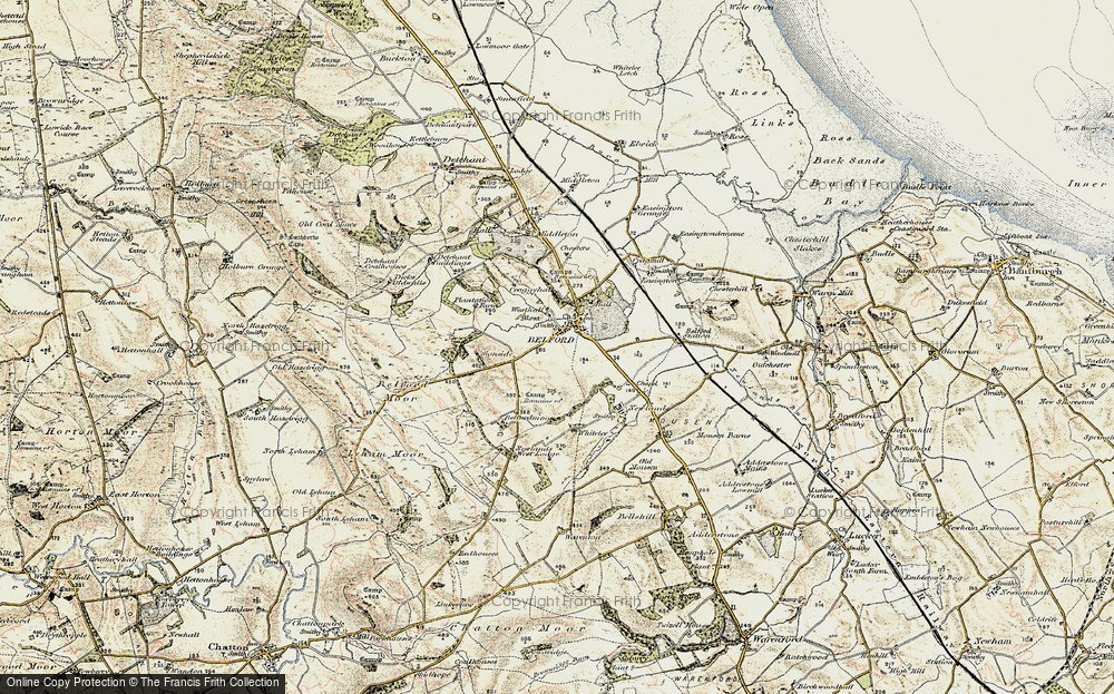 Old Map of Historic Map covering Whitelee in 1901-1903