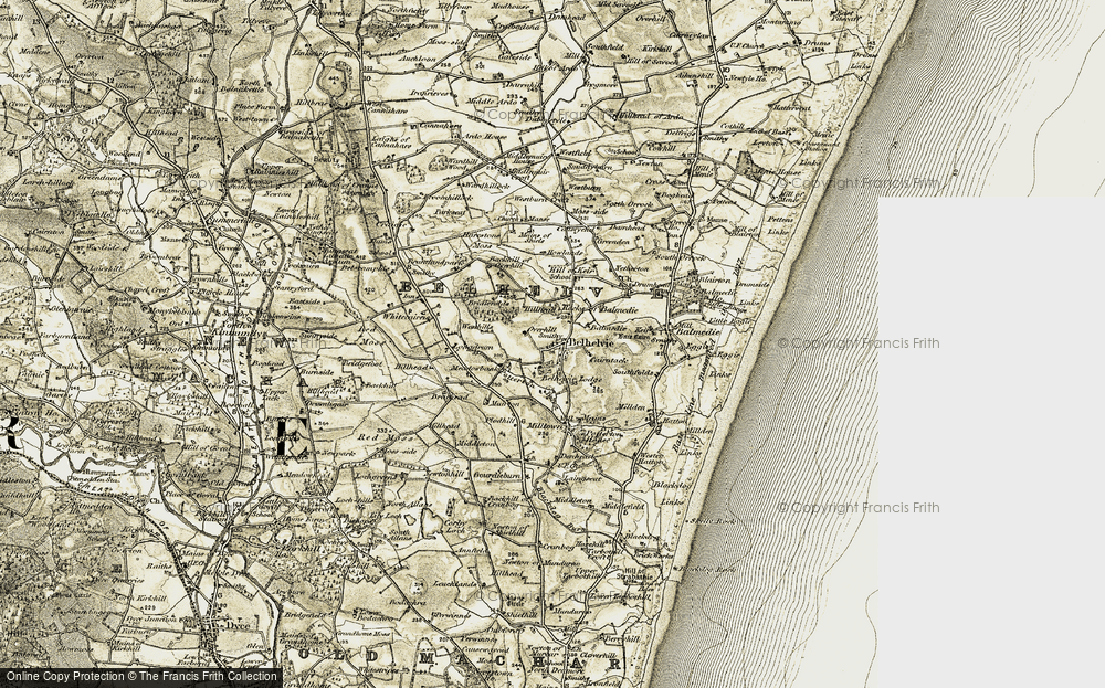 Old Map of Historic Map covering Backhill of Overhill in 1909-1910