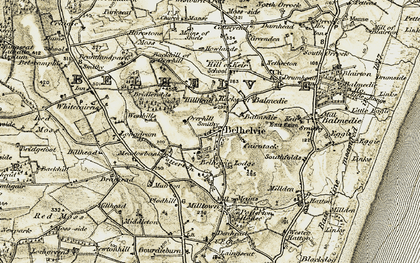 Old map of Backhill of Overhill in 1909-1910