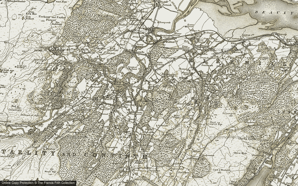 Old Map of Historic Map covering Auchvaich in 1908-1912