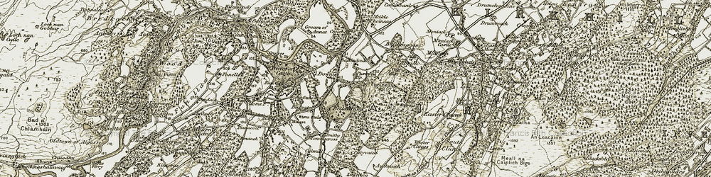 Old map of Wester Clunes in 1908-1912