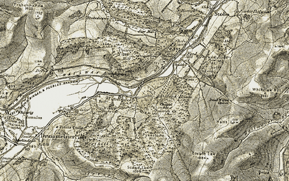 Old map of Weston Burn in 1903-1904