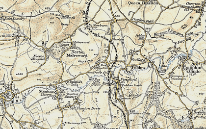 Old map of Belluton in 1899