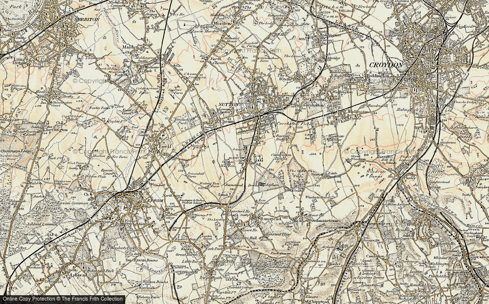 Old Map of Historic Map covering Banstead Downs in 1897-1909