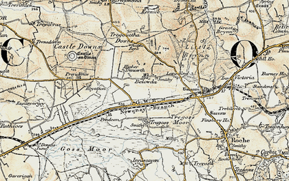 Old map of Belowda in 1900