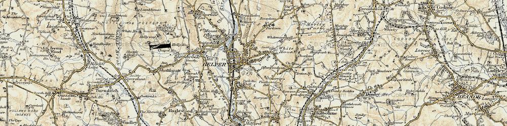 Old map of Belper in 1902