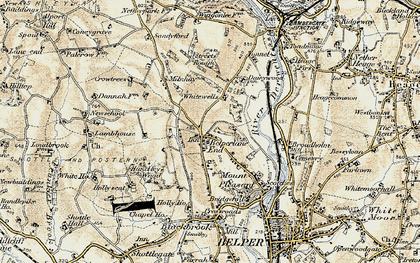 Old map of Belper Lane End in 1902