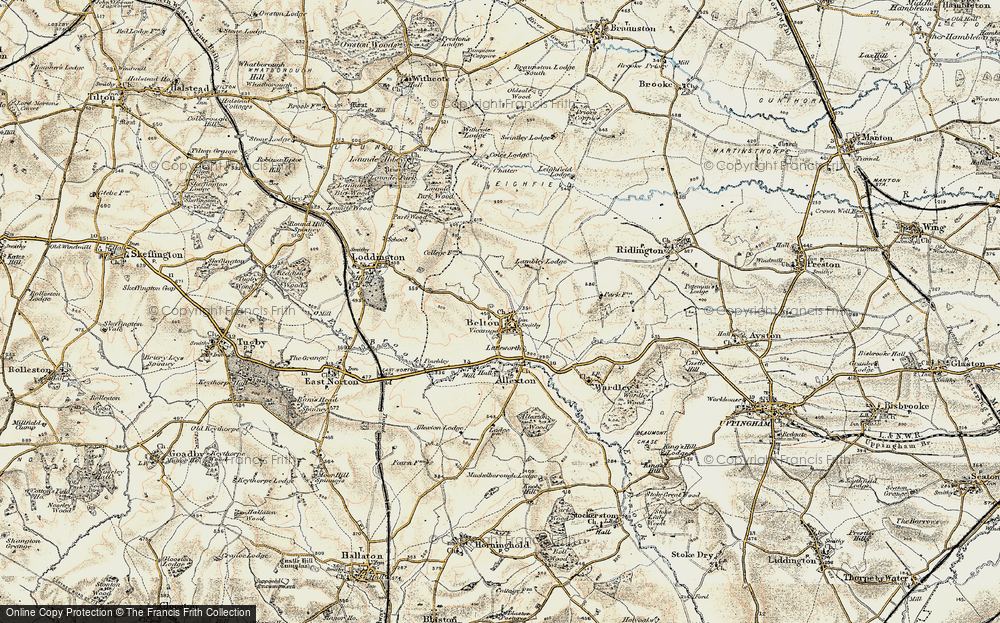 Old Map of Historic Map covering Launde Park Wood in 1901-1903