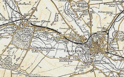 Old map of Bemerton in 1897-1898