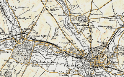 Old map of Bemerton Heath in 1897-1898