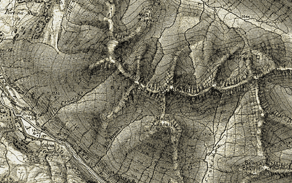 Old map of Allt nan Gillean in 1906-1907