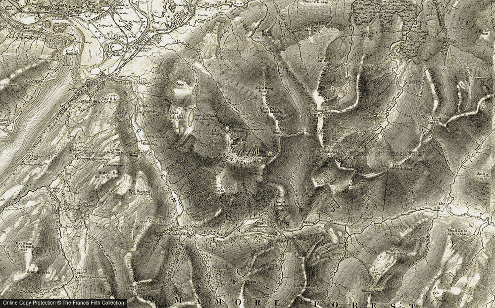 Old Map of Historic Map covering Allt Coire Giubhsachan in 1906-1908