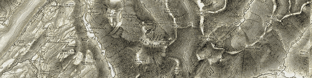 Old map of Allt Coire Giubhsachan in 1906-1908