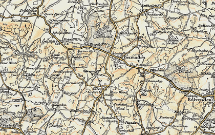 Old map of Benenden in 1898