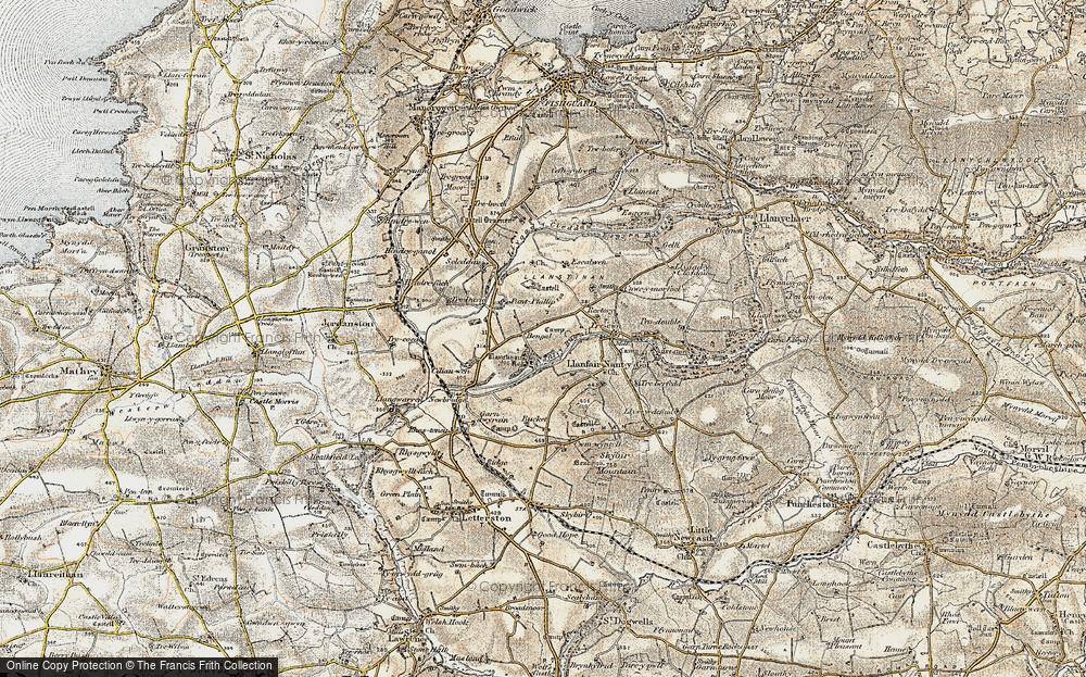 Old Map of Historic Map covering Afon Cleddau in 1901-1912