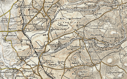 Old map of Afon Cleddau in 1901-1912
