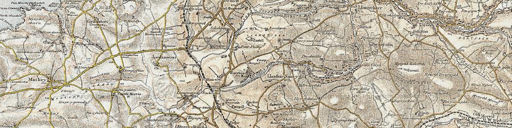Old map of Afon Cleddau in 1901-1912
