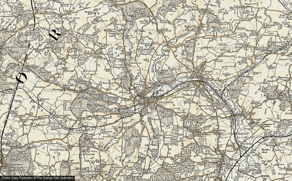 Old Map of Bengeo, 1898 in 1898