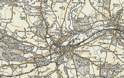 Old map of Bengeo in 1898
