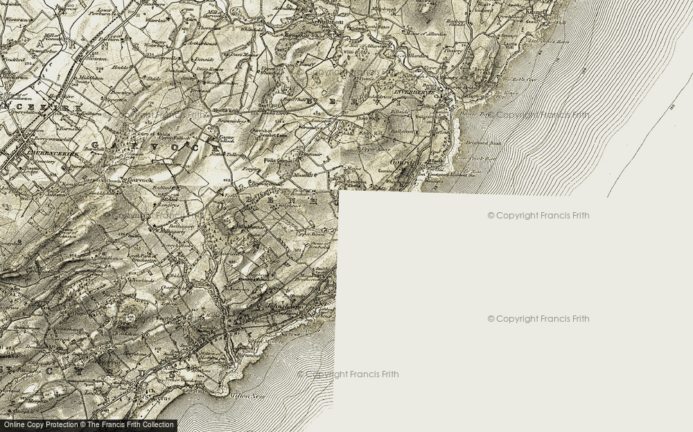 Old Map of Historic Map covering Tillygrain in 1908