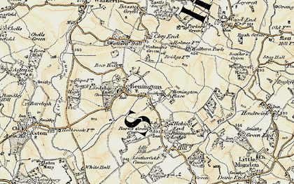 Old map of Benington in 1898-1899