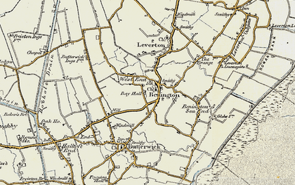 Old map of Benington in 1901-1902