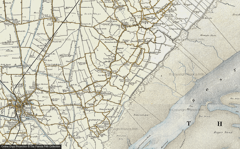 Old Map of Benington Sea End, 1901-1902 in 1901-1902