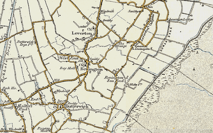 Old map of Benington Sea End in 1901-1902