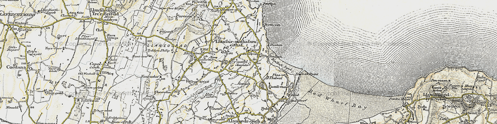 Old map of Benllech in 1903-1910