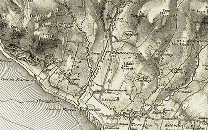 Old map of Allt Burican in 1905-1906