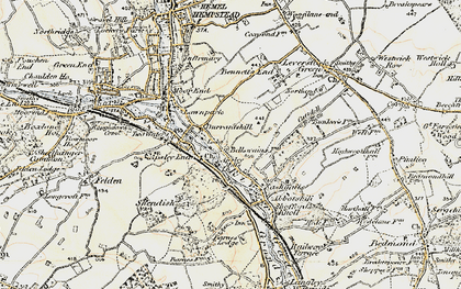 Old map of Bennetts End in 1897-1898