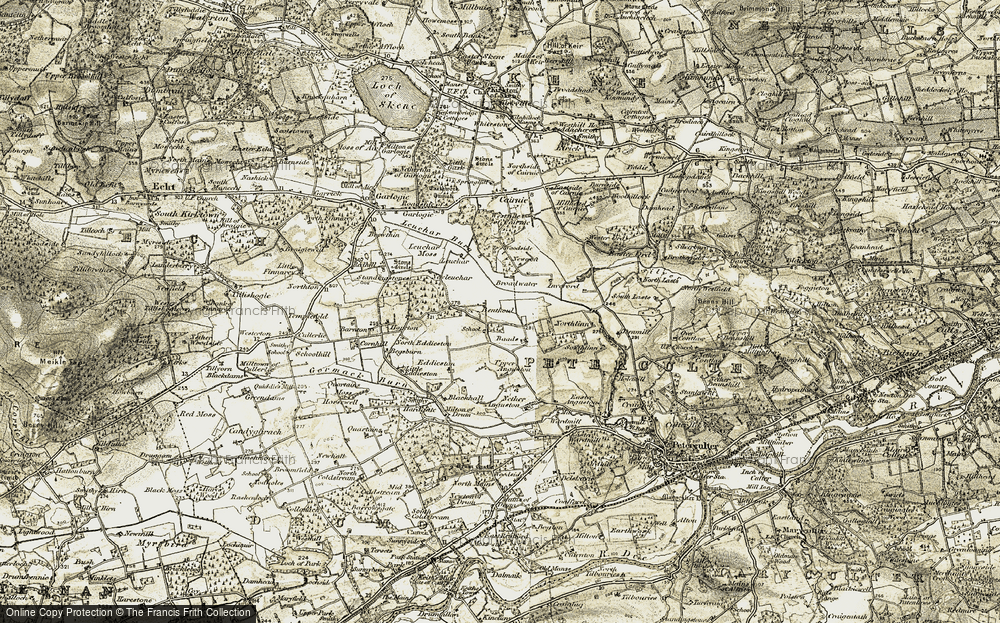 Old Map of Historic Map covering Leuchar Moss in 1908-1909