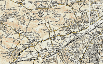 Old map of Bentley in 1897-1909