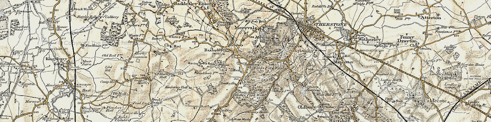 Old map of Wigston Hill in 1901-1902