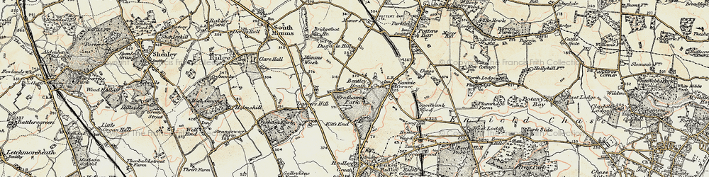 Old map of Wrotham Park in 1897-1898