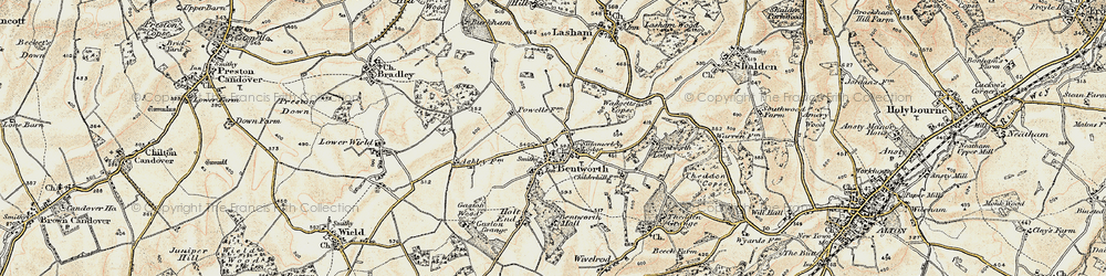 Old map of Bentworth in 1897-1900